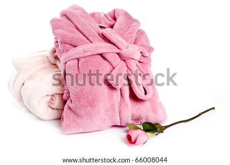 Pink Bathrobes Isolated on White