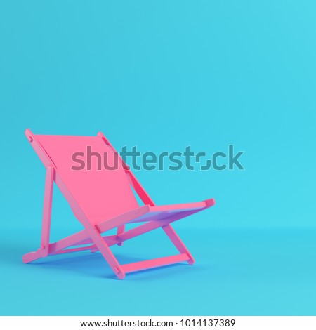 Pink beach chair on bright blue background in pastel colors. Minimalism concept. 3d render