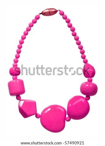pink beads - stock photo