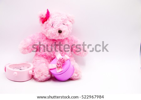 Pink bear with pink gift on white background #522967984