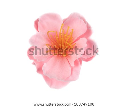 Pink beautiful artificial flower. Isolated on a white background.