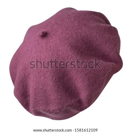 pink beret isolated on white background. hat female beret