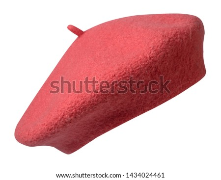 pink beret isolated on white background. hat female beret front view .