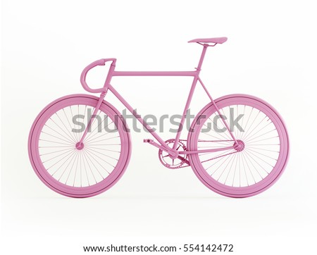 Pink bicycle 3D rendering isolated on white
