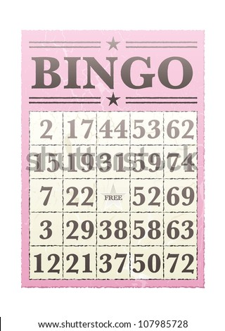 Pink bingo card with randon numbers and retro style