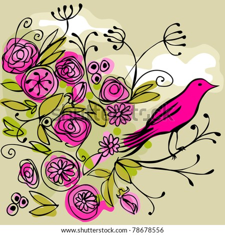 pink bird on a flowery branch - for vector version see image no. 78539290 - stock photo