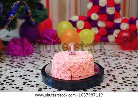 Pink Birthday Cake For One Year Old Girl 1037987119