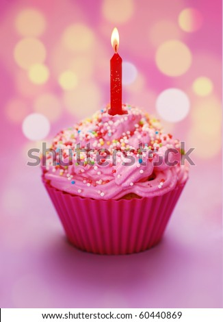 Pink birthday cupcake with a candle