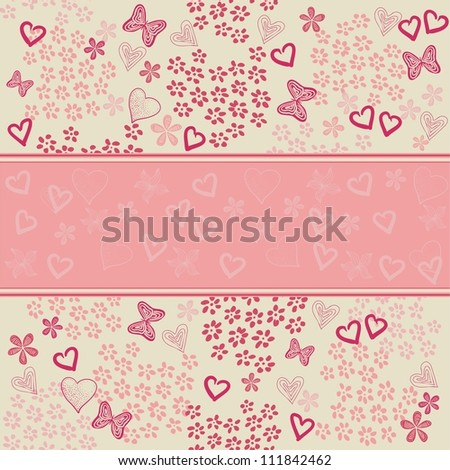 pink blank banner for your text placed on doodle floral seamless background - stock photo