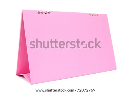 pink blank desktop calendar with isolated on white background