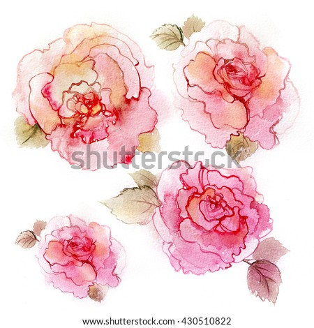 Pink blossom peonies. Colorful illustration of flowers in watercolor paintings.  #430510822