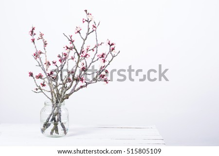 pink blossoming peach flower branches at simple old glass jar on white wooden table #515805109