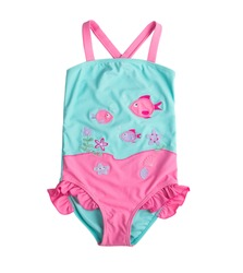Pink blue swimsuit for children isolated on white background