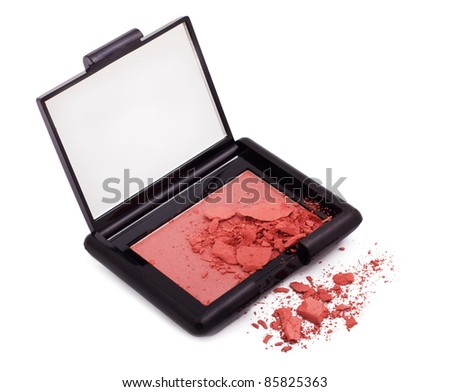Pink blush with crushed particles isolated on white