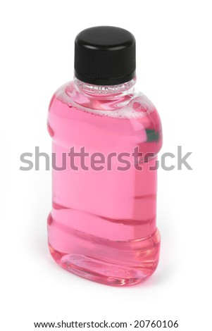 pink bottle of liquid isolated on a white background
