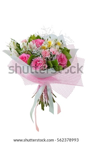 pink bouquet  on white background