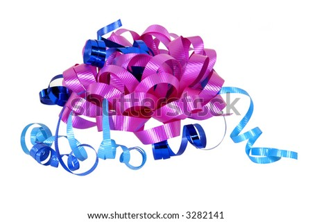 pink bow and blue ribbons on white background