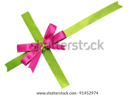 pink bow on green ribbon