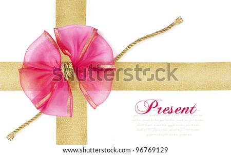 pink bow on the gold ribbon isolated on white background