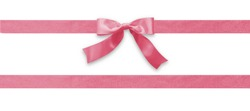 Pink bow ribbon band satin stripe fabric (isolated on white background with clipping path) for Valentines' day holiday gift box, greeting card banner, present wrap design decoration ornament