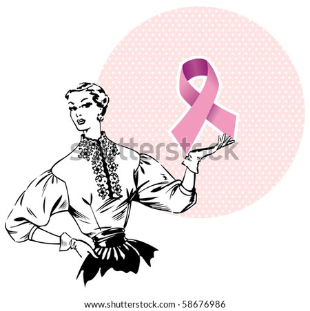Pink breast cancer ribbon being hold by a woman of the fifties.