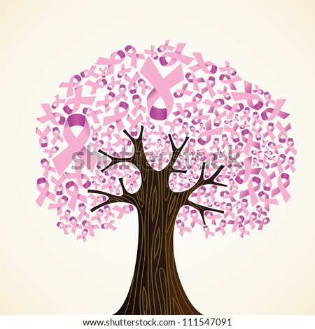Pink breast cancer ribbon concept tree. - stock photo