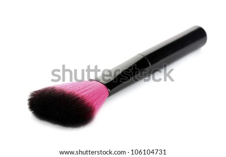 pink brush for make-up isolated on white
