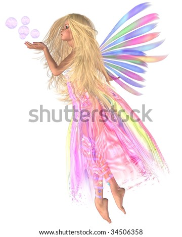 Pink Bubbles Fairy, pretty blonde fairy blowing a handful of pink bubbles to match her skirt, 3d digitally rendered illustration