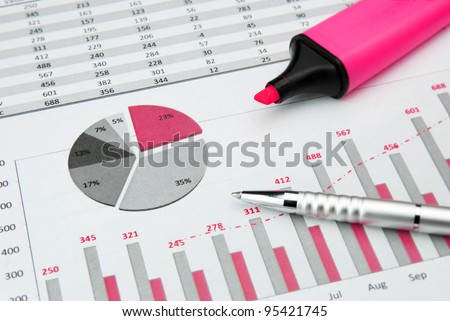 pink Business Charts with marker pen