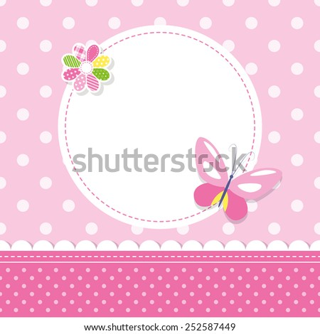Pink Butterfly Baby Girl Greeting Card Illustration EZ Canvas