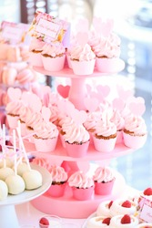 pink cakes on delicious candy bar