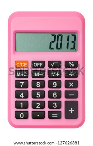Pink calculator display number 2013 isolated on white