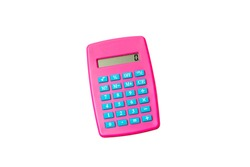 Pink Calculator for children isolated on white background.