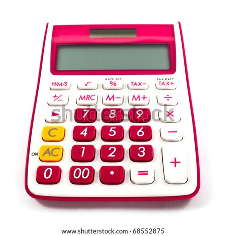pink calculator isolated on a white background