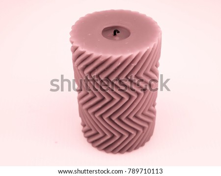 Pink candle with a zigzag pattern #789710113