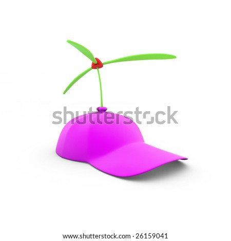Pink cap with toy propellers on a white background (3D rendering)