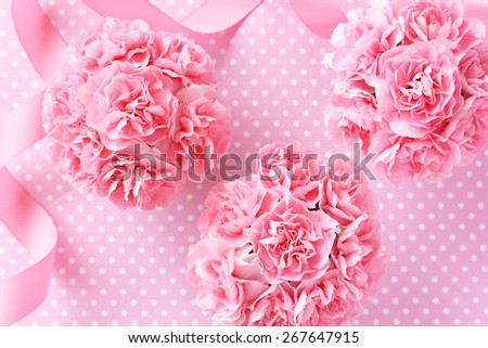 Pink carnation bouquet with pink bow  for mother\'s day