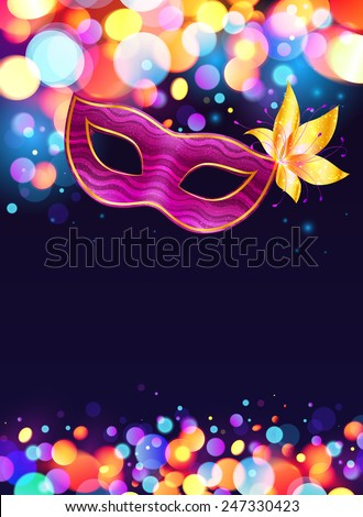 Pink Carnival Mask And Bokeh Lights Dark Blue Poster Background