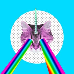 Pink cat with a unicorn horn emits a rainbow laser from eyes. Contemporary art collage. Concept of memphis style posters. Abstract minimalism