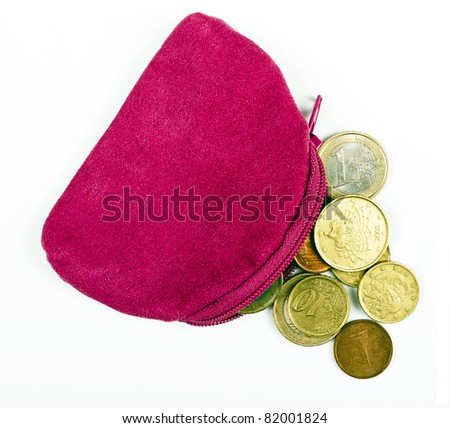 Pink change purse with Euros, over white - household budget
