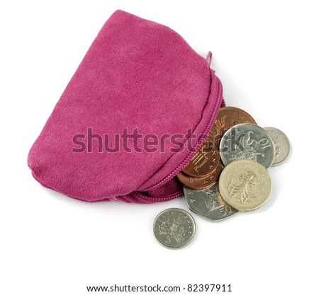 Pink change purse with UK pound coins, over white