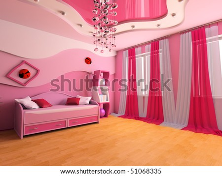 Pink children's room with a sofa 3d image