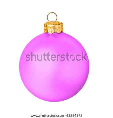 Pink christmas ball on white background
