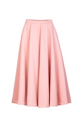 Pink  classic midi skirt isolated on white background