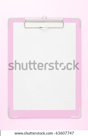 Pink clipboard with copy space.
