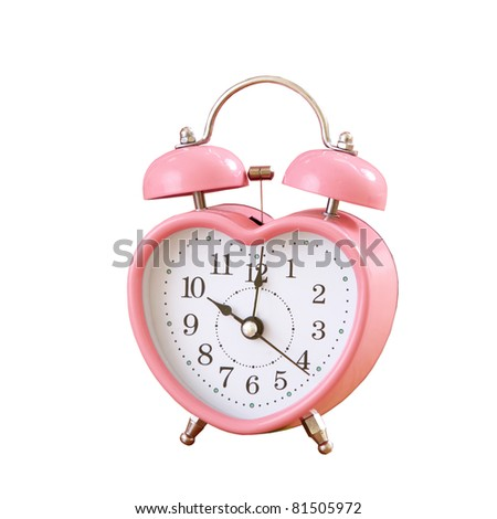 pink clock on white background