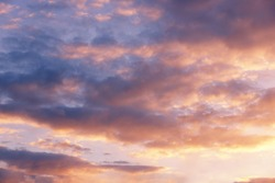 pink clouds at sunset, evening sky, beautiful background