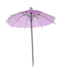Pink coctail umbrella isolated on white