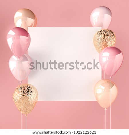 Pink color and golden balloons with sequins  and white sticker. Pink background for social media. 3D render for birthday, party, wedding or promotion banners. Vibrant and realistic illustration.