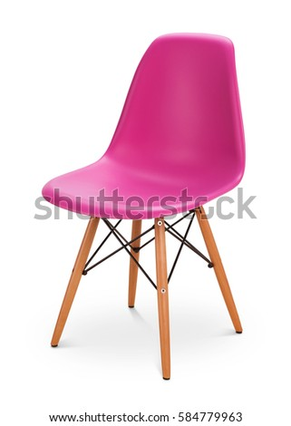 Pink color chair, modern designer. Chair isolated on white background. Series of furniture #584779963